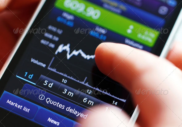 Stock diagram on the screen smartphone. - Stock Photo - Images