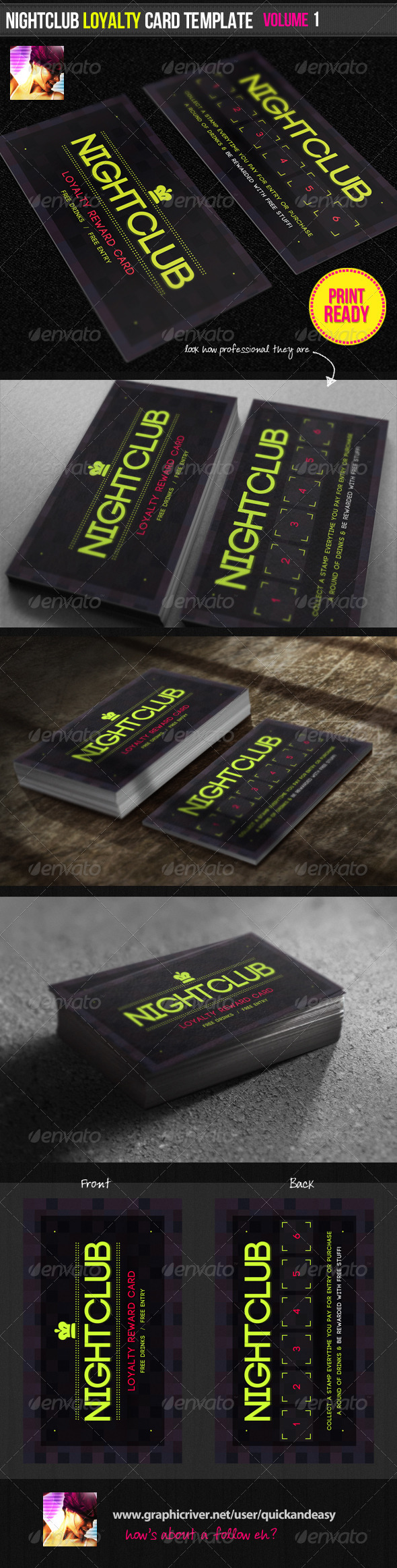 nightclub loyalty card template graphicriver. Black Bedroom Furniture Sets. Home Design Ideas