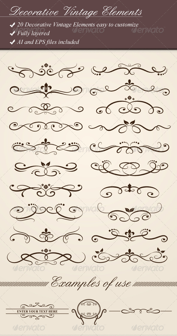 Decorative Vintage Elements - Flourishes / Swirls Decorative