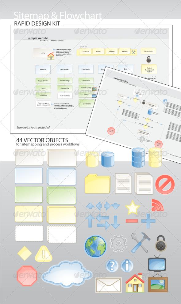 GraphicRiver Sitemap & Flowchart Rapid Design Kit 198762