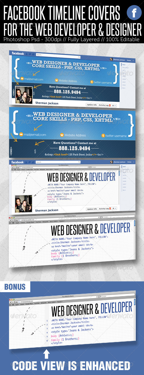 Facebook Timeline Cover - Web Developer & Designer - Facebook Timeline Covers Social Media