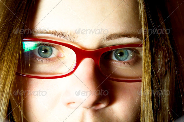 Portrait of the young woman in glasses - Stock Photo - Images