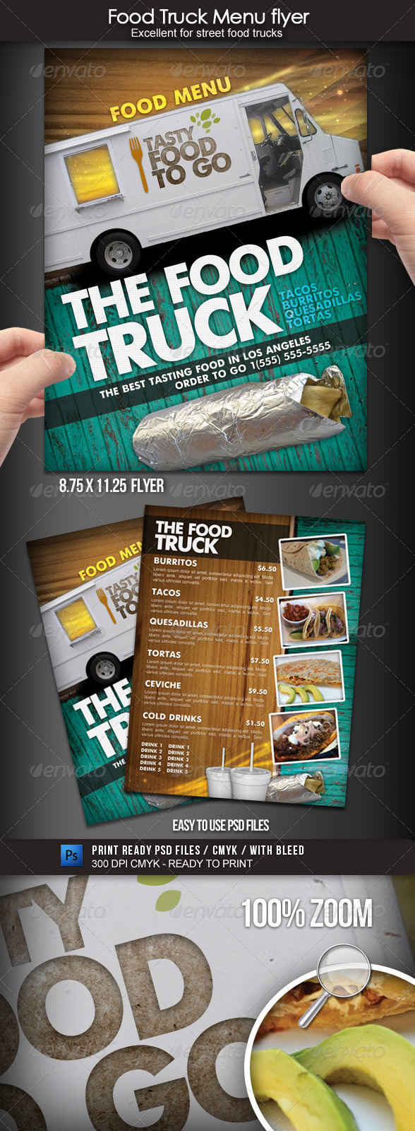 GraphicRiver Food Truck Menu Flyer 1700119