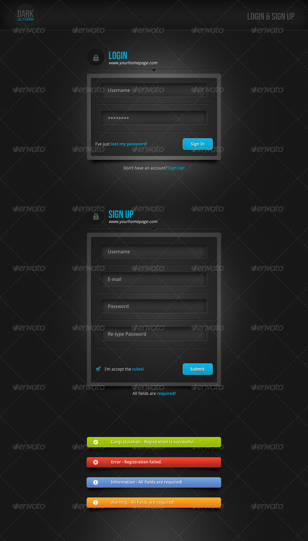 Dark UI Login Form + Notifications