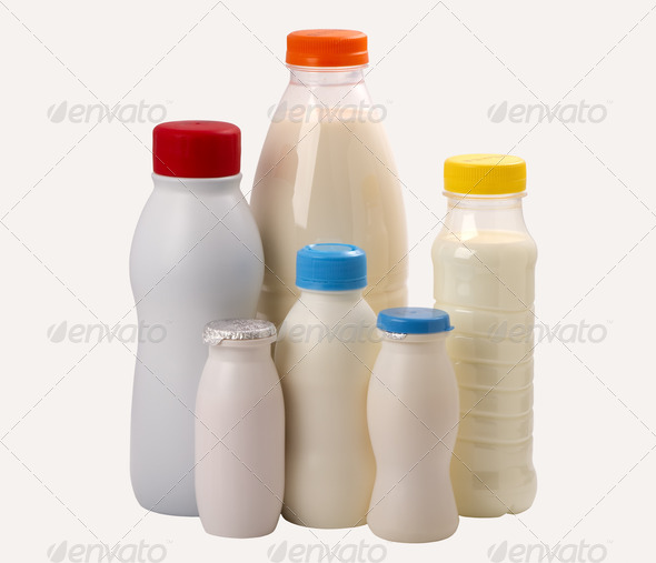 different types bottles for milk and yogurt - Stock Photo - Images