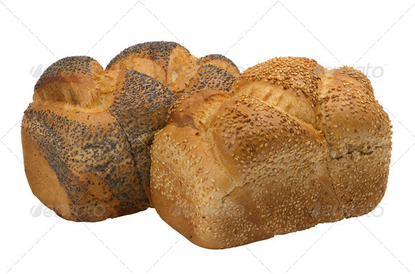 two loaves of  fresh wheat  bread  - Stock Photo - Images