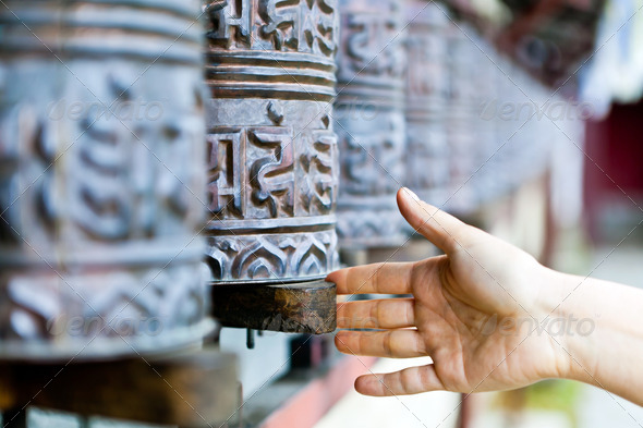 Prayer wheel in monastery, Nepal - Stock Photo - Images