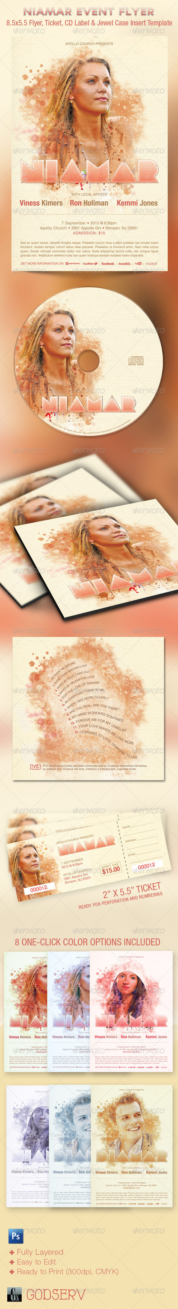 GraphicRiver Niamar Church Event Flyer Ticket and CD Template 1715029