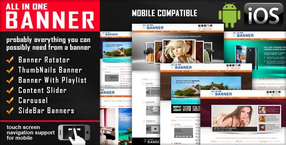 ALL DNE ПРАПОР, ймовірно, все, що ви можете, можливо, потрібно від Банер Банер Rotator ThumbN турбує Банер Банер зі списком відтворення контенту Slider Карусель бічній панелі Банери сенсорний екран мобільного сумісність