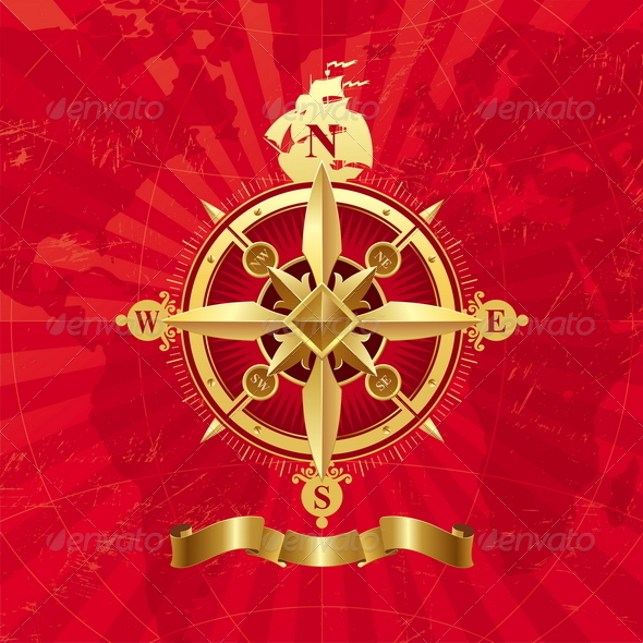 GraphicRiver Ancient Golden Compass Rose 1715926
