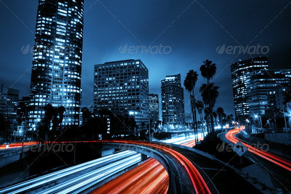 PhotoDune Los Angeles Urban City at Sunset with Freeway Trafic 1717589