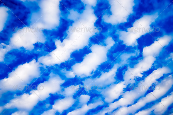 White Cumulus Clouds and a Blue Sky - Stock Photo - Images