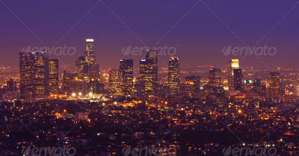 Los Angeles, Urban City at Sunset - Stock Photo - Images