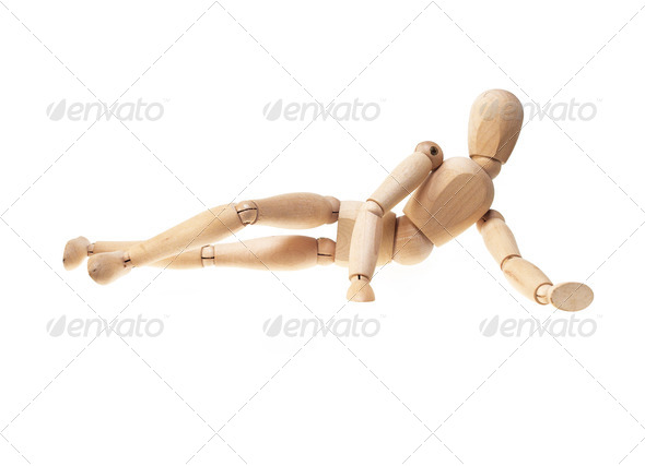 wood mannekin over white - Stock Photo - Images