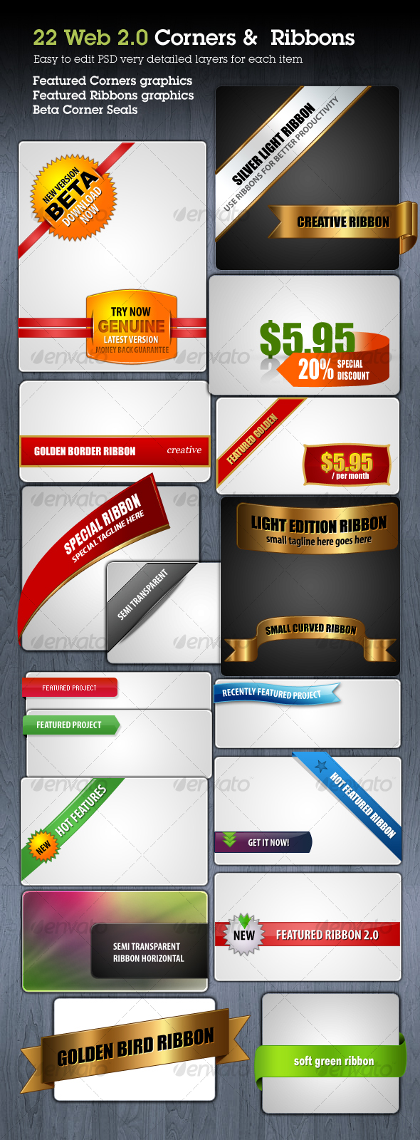 Web Ribbons & Corner Graphics - Web Elements