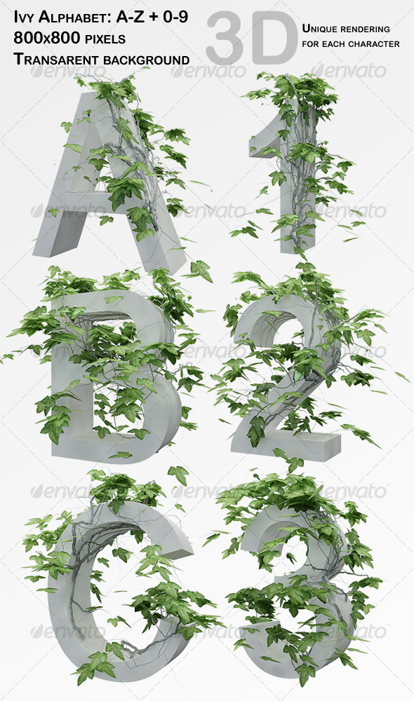 GraphicRiver Ivy Alphabet & Numbers 67124