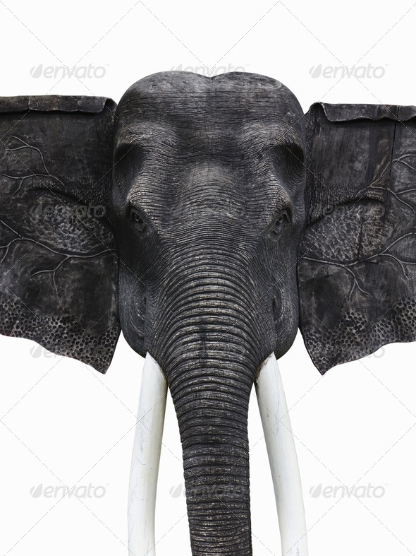 Sculpture wooden elephant isolated on white with  with clipping - Stock Photo - Images