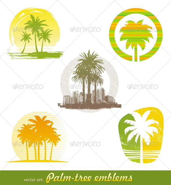 GraphicRiver Palm Tree Emblems & Labels 1722749