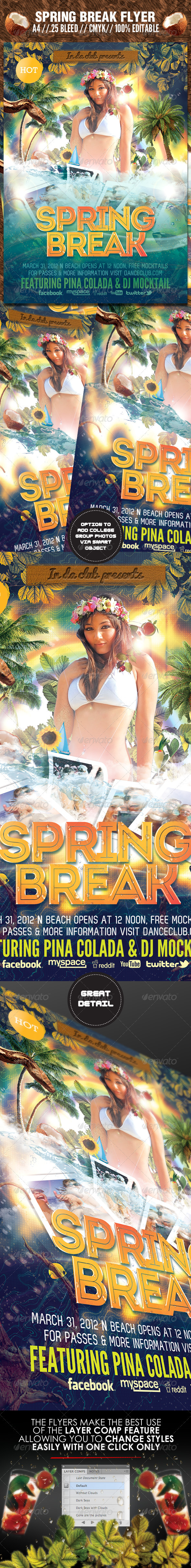Spring Break and Beach Party Flyer Template - Clubs & Parties Events