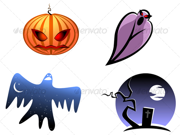 Halloween and ghost icons - Monsters Characters