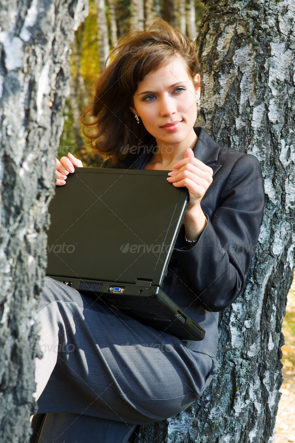 Young Businesswoman With Laptop - Stock Photo - Images