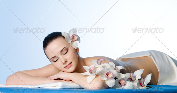 Resting woman in spa salon - Stock Photo - Images
