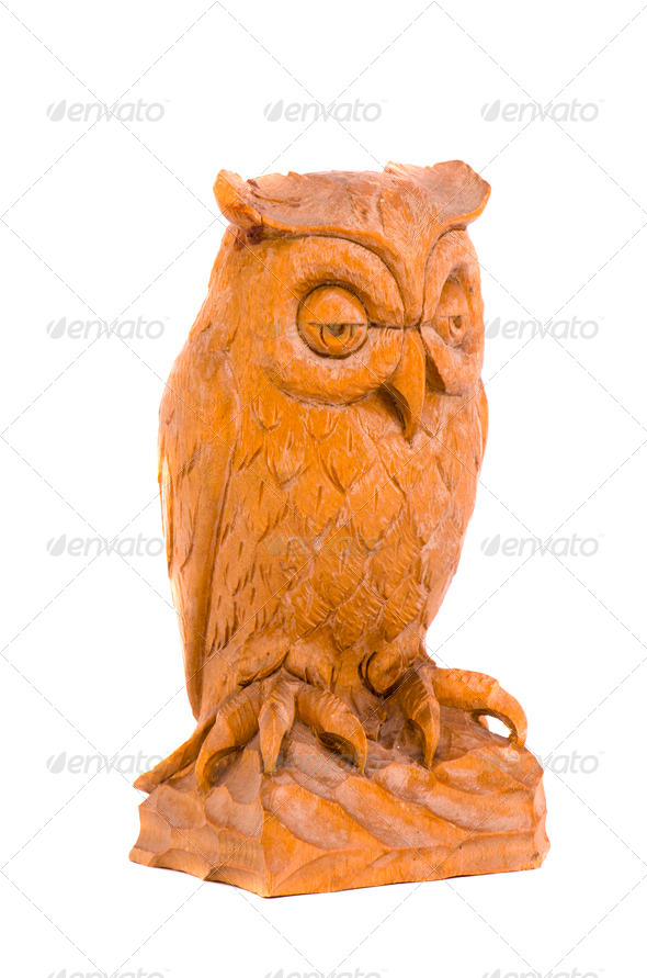 isolated wooden owl souvenir - Stock Photo - Images