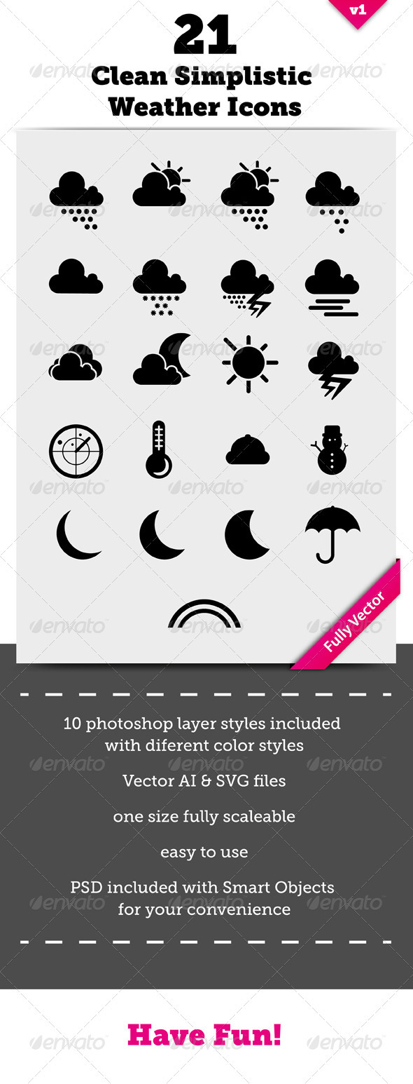 21 Clean Simplistic Vector Weather Icons - Miscellaneous Icons