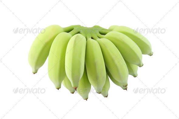 Green banana bunch on white background. - Stock Photo - Images