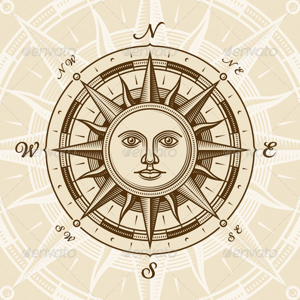 GraphicRiver Vintage Sun Compass Rose 1741390