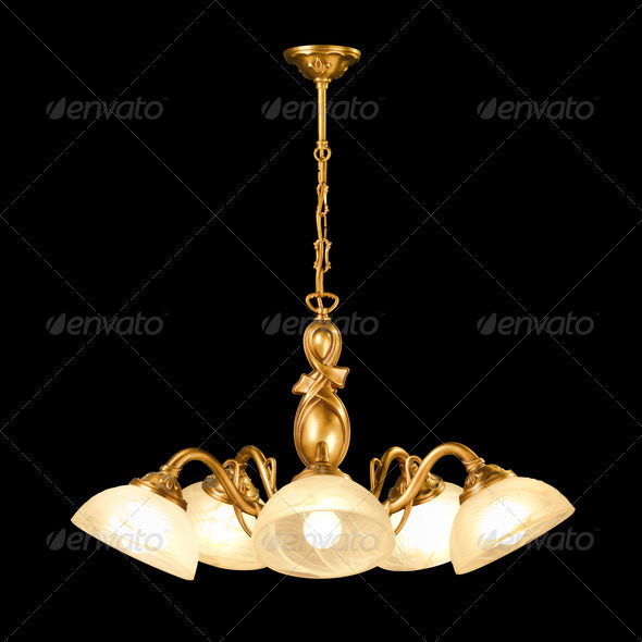 Vintage chandelier isolated on black - Stock Photo - Images