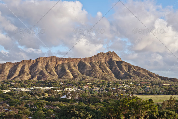 Diamond Head in Honolulu, Hawaii - Stock Photo - Images