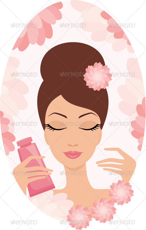 GraphicRiver Beautiful young woman with a cosmetics set 1744517