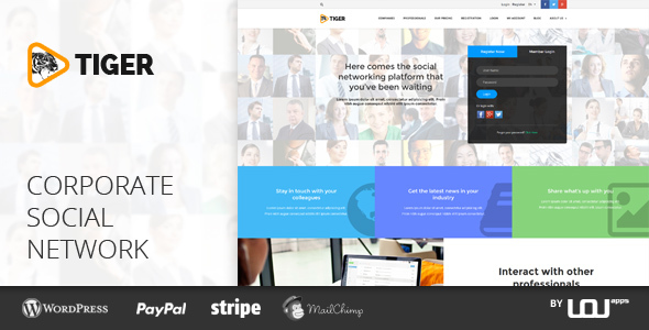 social networking sites free templates download - tiger social network theme for companies professionals