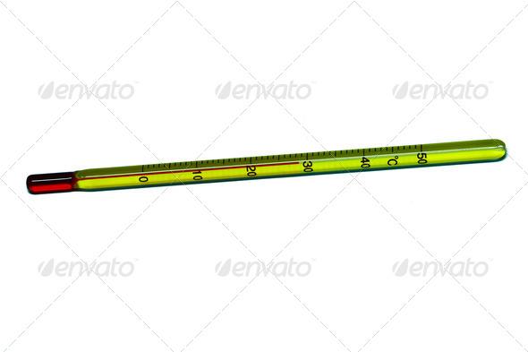 Glass mercury thermometer isolated - Stock Photo - Images