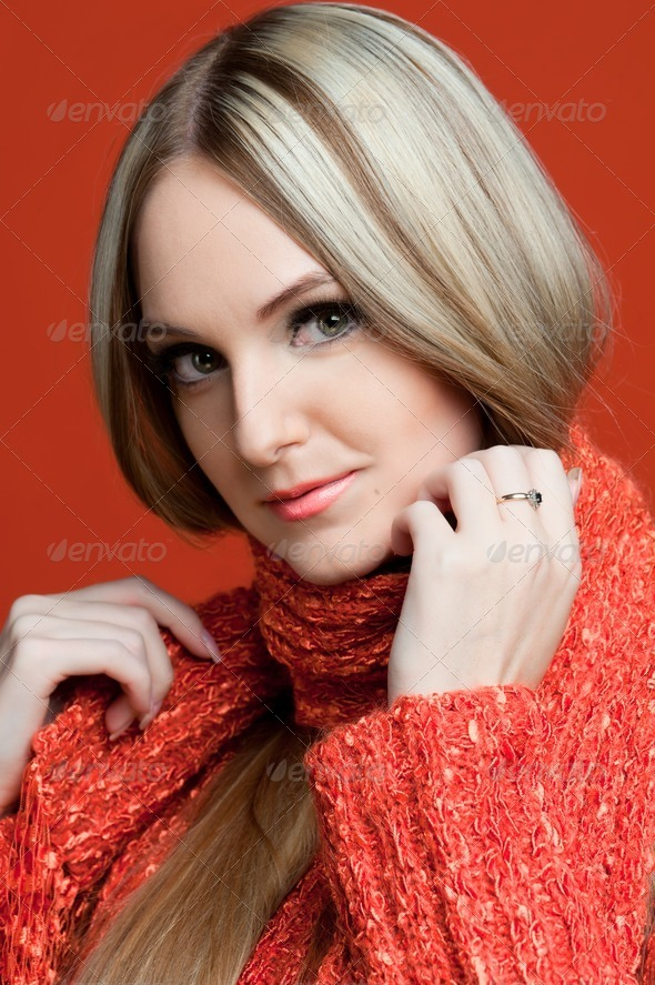beautiful woman in red with very long hair. - Stock Photo - Images