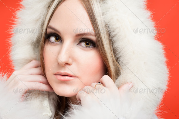 beautiful woman in fur hood - Stock Photo - Images