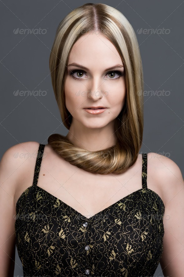 beautiful woman with very long hair. - Stock Photo - Images