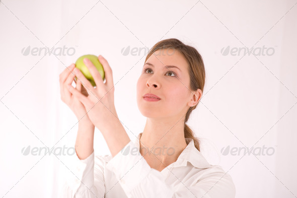 woman and apple - Stock Photo - Images
