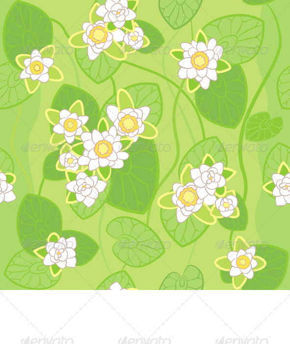 Seamless Pattern of White Lotus - Backgrounds Decorative