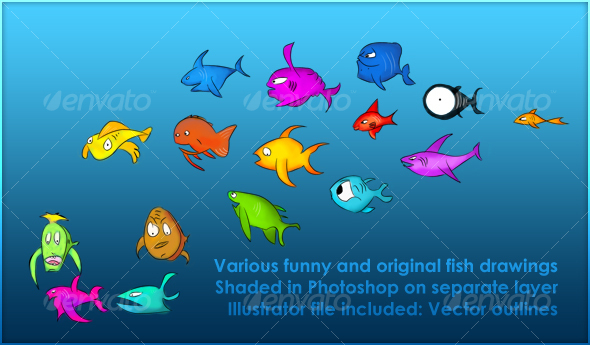 Various fish drawings - Animals Illustrations