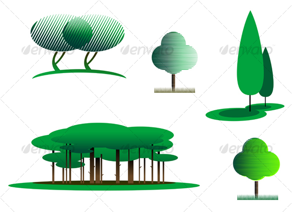 Set of tree symbols - Decorative Vectors