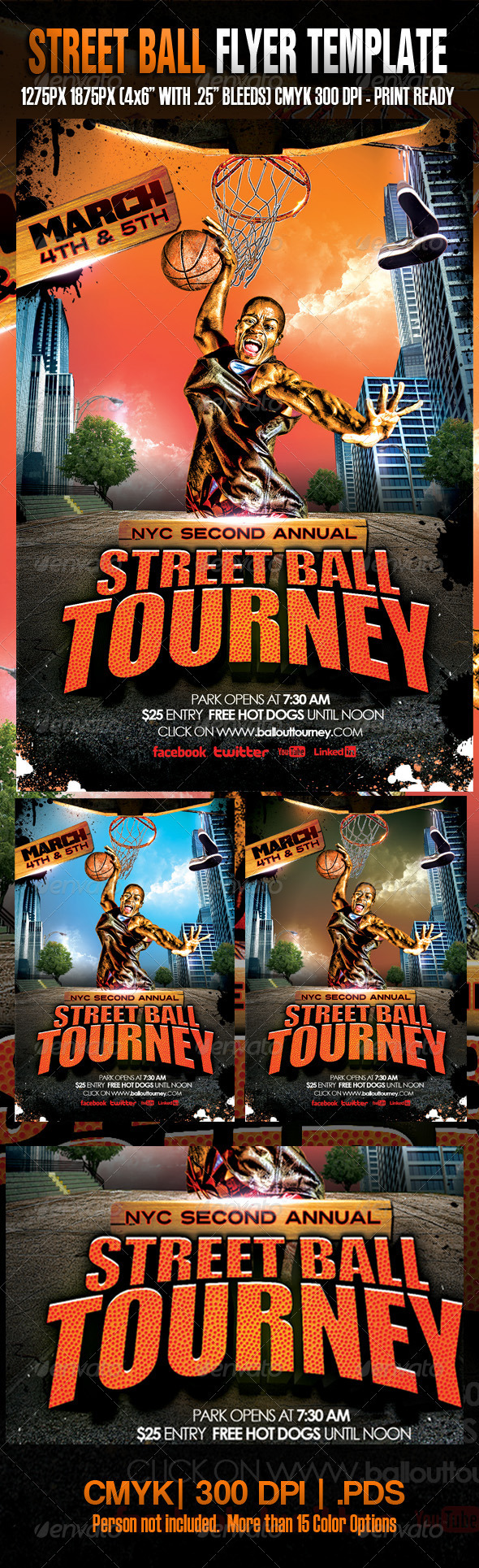 Street Ball Tourney Template - Flyers Print Templates