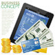 Financial Concept with Tablet PC, Dollars, Cards - GraphicRiver Item for Sale