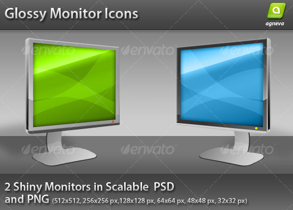 Glossy Monitor Icon GraphicRiver - Icons -  Media 68566