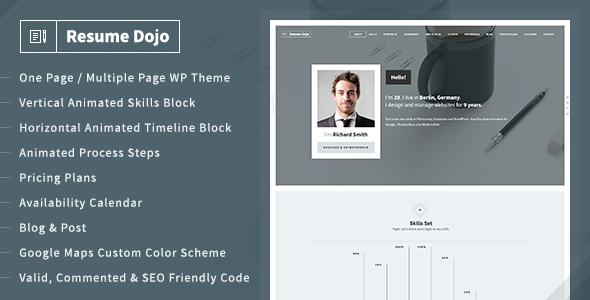 Resumedojo - Resume And Portfolio Wordpress Theme By Themes-Dojo
