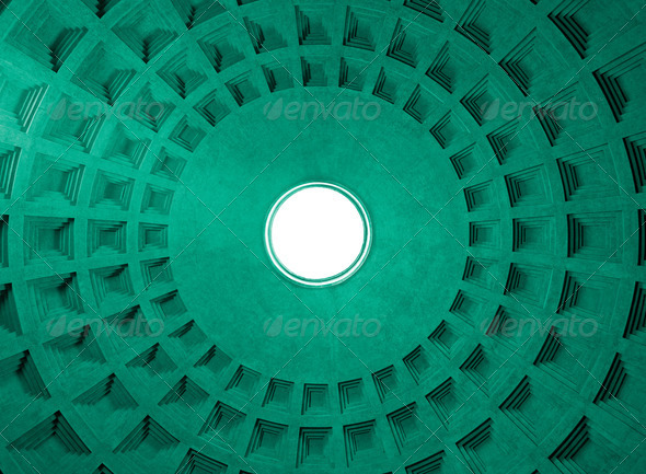 Pantheon Dome ceiling pattern and hole, Rome Italy. - Stock Photo - Images