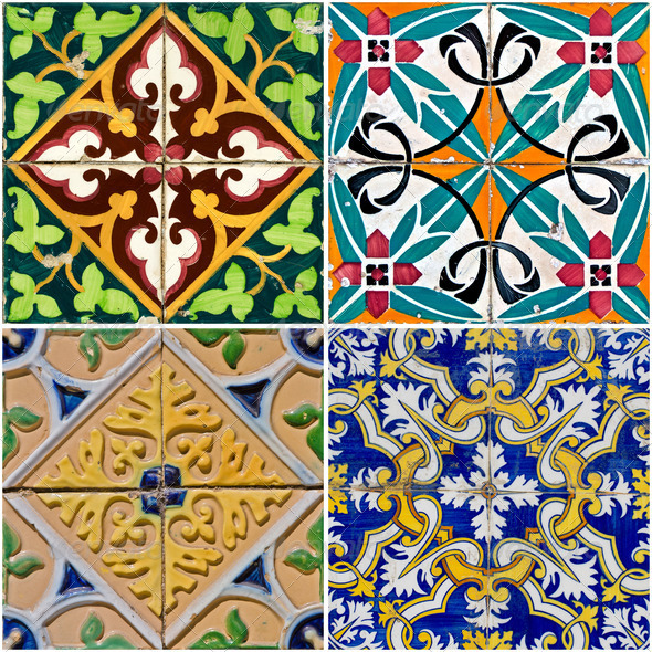 Vintage ceramic tiles - Stock Photo - Images