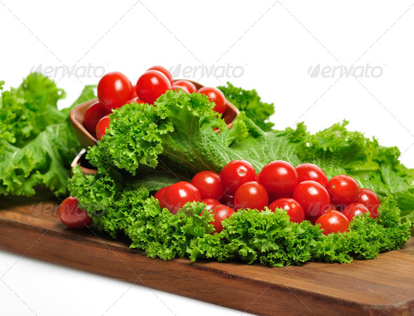 Tomatoes And Salad Leaves - Stock Photo - Images