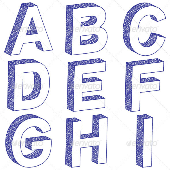 Drawing 3d Letter A I Graphicriver